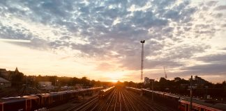 Landscape view of the railroad at sunset